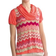August Silk Chevron Stripe Shirt - V-Neck, Short Sleeve (For Women) in Warm Combo - Closeouts