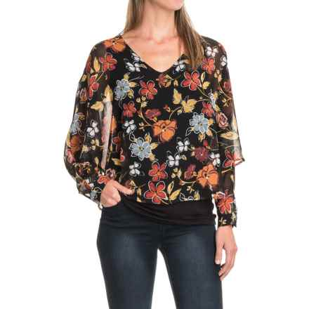August Silk Chiffon Overlay Blouse - Long Sleeve (For Women) in Floral Spice - Closeouts