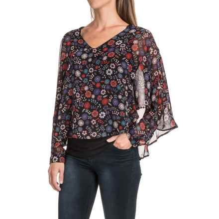 August Silk Chiffon Overlay Blouse - Long Sleeve (For Women) in Twin Floral - Closeouts