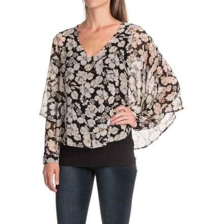 August Silk Chiffon Overlay Blouse - Long Sleeve (For Women) in Vintage Floral - Closeouts
