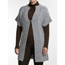 August Silk Chunkie Flyaway Tunic Cardigan Sweater - Short Sleeve (For Women) in Silver Tweed - Closeouts
