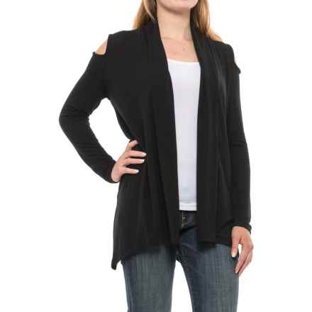 August Silk Cold Shoulder Open-Front Cardigan Sweater (For Women) in Black - Closeouts
