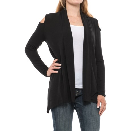 August Silk Cold Shoulder Open-Front Cardigan Sweater (For Women) in Black