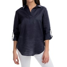 August Silk Collared Linen Shirt - V-Neck, Long Sleeve (For Women) in Perfect Navy - Closeouts