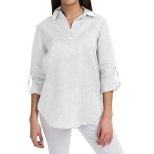 August Silk Collared Linen Shirt - V-Neck, Long Sleeve (For Women) in U V White - Closeouts