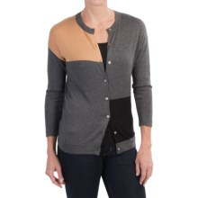 August Silk Color-Block Cardigan Sweater - Cotton-Modal (For Women) in Grey Combo - Closeouts