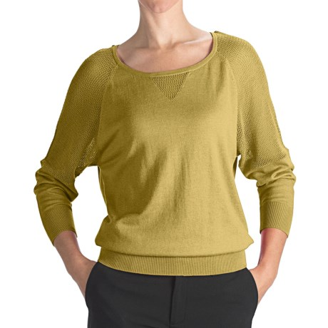 August Silk Cotton-Modal Boat Neck Sweater - Mesh Shoulders (For Women) in Citron
