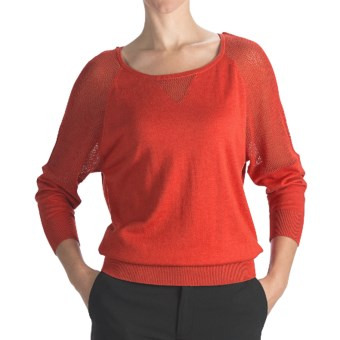 August Silk Cotton-Modal Boat Neck Sweater - Mesh Shoulders (For Women) in Mandarin