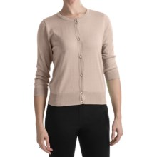 August Silk Cotton-Modal Cardigan Sweater - 3/4 Sleeve (For Women) in Ash Blonde - Closeouts