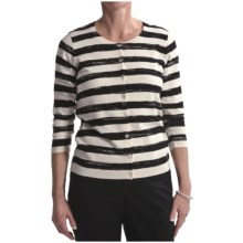 August Silk Cotton-Rich Cardigan Sweater - 3/4 Sleeve (For Women) in Black - Closeouts