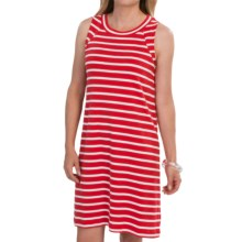August Silk Cotton Stripe Dress - Sleeveless (For Women) in Red/White - Closeouts