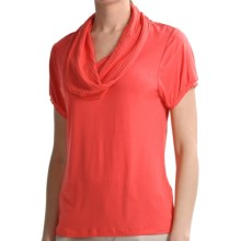 August Silk Cowl Neck Shirt - Short Sleeve (For Women) in Tiger Lily - Closeouts