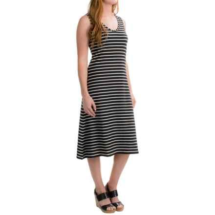 August Silk Crisscross-Back Dress - Sleeveless (For Women) in Black/White Stripe - Closeouts