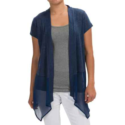 August Silk Crochet-Detail Cardigan Sweater (For Women) in Indigo Denim - Closeouts