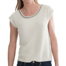 August Silk Crop Sweater with Embellished Neckline - Short Sleeve (For Women) in Cotton Ball - Closeouts