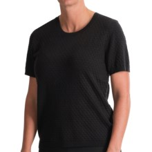 August Silk Cropped Diamond-Stitch Sweater - Short Sleeve (For Women) in Black - Closeouts