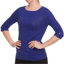 August Silk Dotted Pointelle Knit Shirt - Boat Neck, 3/4 Sleeve (For Women) in Havana Sapphire - Closeouts