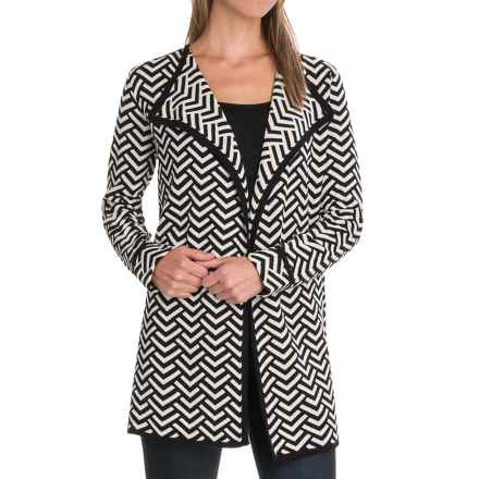 August Silk Double-Knit Jacquard Sweater Coat - Open Front (For Women) in Arrow Head - Closeouts