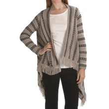 August Silk Drape Sweater with Fringe (For Women) in Brown Combo - Closeouts