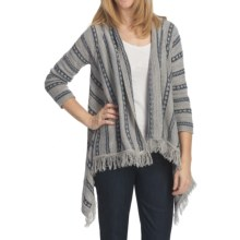 August Silk Drape Sweater with Fringe (For Women) in Denim Combo - Closeouts