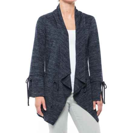 August Silk Drawstring Open-Front Cardigan Sweater (For Women) in Navy/Black Heather - Closeouts