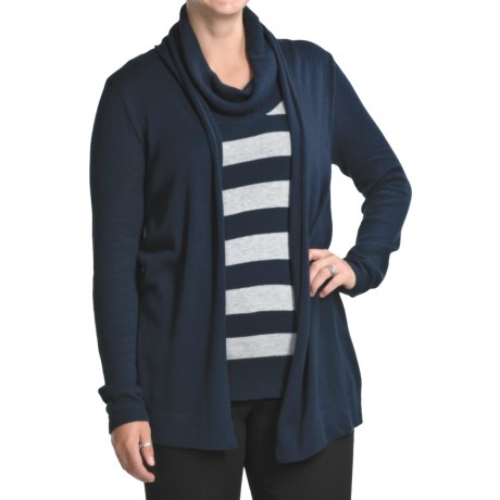 August Silk Duet Cardigan Sweater with Striped Cowl Neck Shirt (For Women) in Hunter Blue/Crystal