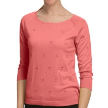 August Silk Embroidered Eyelet Knit Shirt - 3/4 Sleeve (For Women) in Peach Macaroon - Closeouts