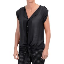 August Silk Extended Shoulder Tie-Front Shirt - Roll-Up Short Sleeve (For Women) in Black - Closeouts