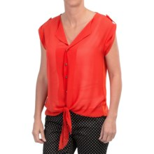 August Silk Extended Shoulder Tie-Front Shirt - Roll-Up Short Sleeve (For Women) in Firecracker - Closeouts