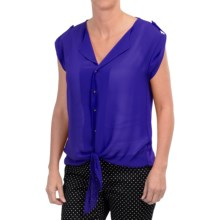August Silk Extended Shoulder Tie-Front Shirt - Roll-Up Short Sleeve (For Women) in New Royal - Closeouts