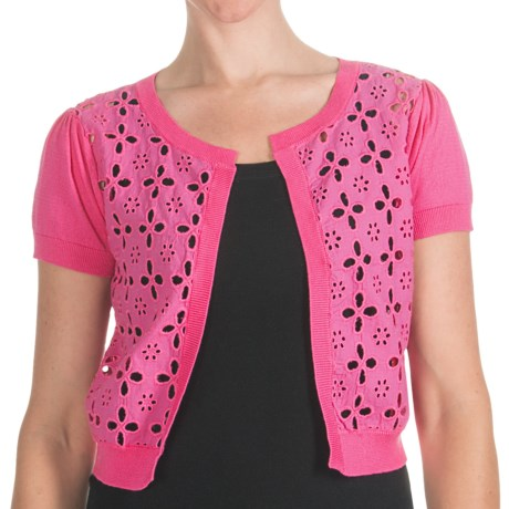 August Silk Eyelet Cardigan Sweater - Short Sleeve (For Women) in Kinetic Pink