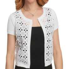 August Silk Eyelet Cardigan Sweater - Short Sleeve (For Women) in White - Closeouts