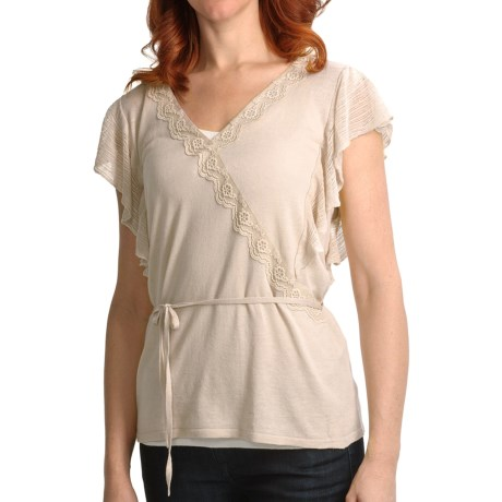 August Silk Faux Wrap Shirt - Lace Trim, Short Sleeve (For Women)