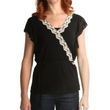 August Silk Faux Wrap Shirt - Lace Trim, Short Sleeve (For Women) in Black - Closeouts
