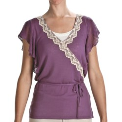 August Silk Faux Wrap Shirt - Lace Trim, Short Sleeve (For Women) in Ash Blonde