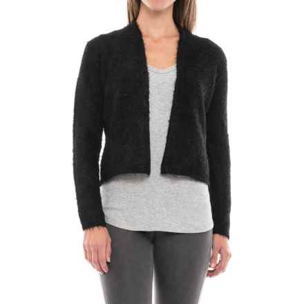 August Silk Feathered Cardigan Sweater (For Women) in Black - Closeouts