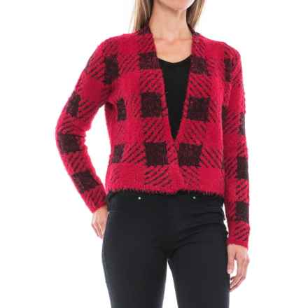 August Silk Feathered Cardigan Sweater (For Women) in Buff Check Red - Closeouts