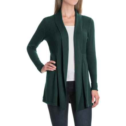 August Silk Fine-Gauge Cardigan Sweater - Open Front (For Women) in Dark Ivy - Closeouts