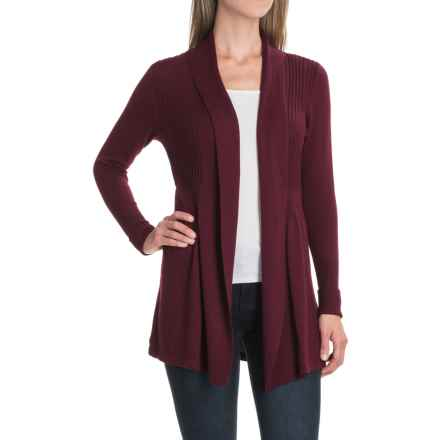 August Silk Fine-Gauge Cardigan Sweater - Open Front (For Women) in Eggplant Purple - Closeouts