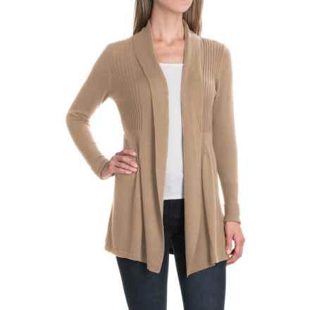 August Silk Fine-Gauge Cardigan Sweater - Open Front (For Women) in Mushroom Heather - Closeouts