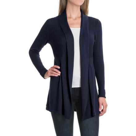 August Silk Fine-Gauge Cardigan Sweater - Open Front (For Women) in Parisian Navy - Closeouts