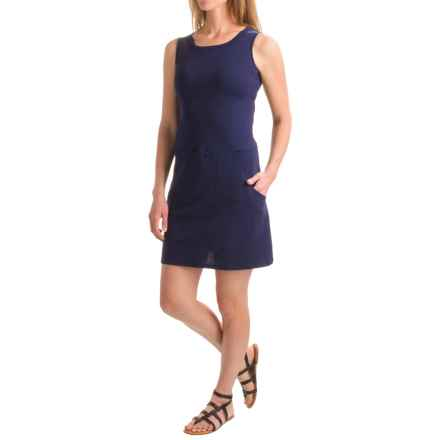 August Silk Flip-Flop Dress - Front Pockets, Sleeveless (For Women) in Parisian Navy - Closeouts
