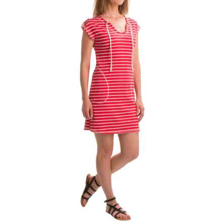 August Silk Flip-Flop Dress - Short Sleeve (For Women) in Red/White - Closeouts
