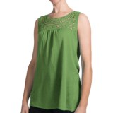 August Silk Floral Crochet Tank Top - Linen Blend (For Women)