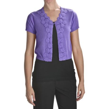 August Silk Flyaway Crop Cardigan Sweater - Short Sleeve (For Women)