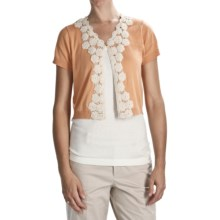 August Silk Flyaway Crop Cardigan Sweater - Short Sleeve (For Women) in Sahara Honey W/Tea - Closeouts