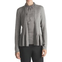 August Silk Flyaway Peplum Cardigan Sweater - Cotton-Modal (For Women) in Grey - Closeouts