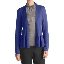 August Silk Flyaway Peplum Cardigan Sweater - Cotton-Modal (For Women) in Royal - Closeouts