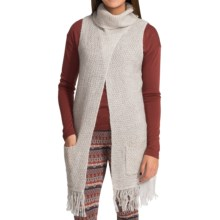 August Silk Fold Over Turtleneck Vest (For Women) in Granola Heather - Closeouts