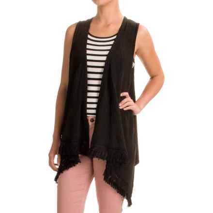 August Silk Fringed Sweater Vest (For Women) in Black - Closeouts